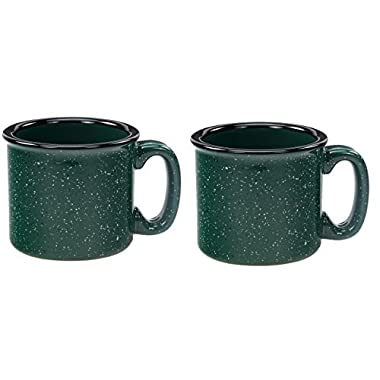 Santa Fe Campfire Coffee & Tea Mug Perfect For Camping or Home, Green 14 oz (Pack of 2)