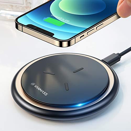VANMASS Fast Wireless Charger 15W 2021 Neuste Qi Ladestation 10W 7.5W Kabelloses Ladepad Induktions Ladegerät mit USB-C Kabel Für iPhone 12/11/XS/X/XR/8, Samsung S21/S20/S10, Note20 Huawei Xiaomi usw.