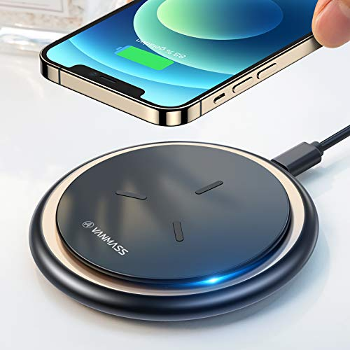VANMASS Fast Wireless Charger 15W Qi Ladestation 10W 7.5W Kabelloses Ladepad Induktions Ladegerät mit 1m USB-C Kabel Für iPhone 12 / SE / 11 / XS/X/XR / 8, Samsung S20 / S10, Note20 / 10, Huawei
