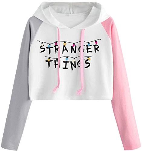 FLYCHEN Fille Stranger Things Sweats à Capuche imprimé Simple Haut Court Season 3 Fans Sweat Tricolore Manches Couleurs différentes (Alphabet, S)