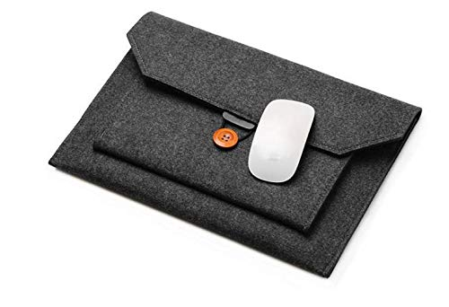 Business Felt Laptop Carrying Sleeve Pouch Case for Jumper EZpad 7S 10.8 Inch/HP Pavilion x2 Detachable 2-in-1 / RCA Galileo Pro 11.5' / Dell Venue 11 Pro/Acer Switch 10.1' 2 i (Black)
