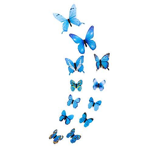 Janly Clearance Sale 12 pegatinas de pared con diseño de mariposa luminosa, decoración magnética para el hogar, para el día de Pascua (azul)