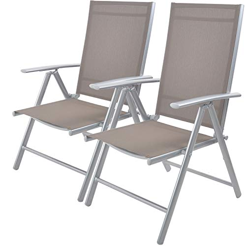 Livebest Set of 2 Folding Sling Back Chairs Patio Adjustable Reclining Back Sturdy Aluminum Frame with Armrest Chair Zero-gravity Indoor Outdoor Garden Pool Bench,Gary