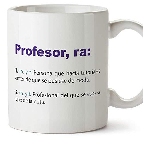 MUGFFINS Taza Profesor (hombre)- Texto /Frases y Mensajes Alegres y Divertidos /Taza Regalo de Café para Desayuno - Cerámica 350 mL