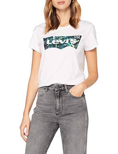 Levi's Damen The Perfect Tee T-Shirt, Batwing Greenery Film White+, M