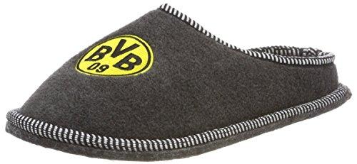Borussia Dortmund Filzpantoffel / Pantoffel / Hausschuhe Emblem BVB 09 (Grau, 40/41)