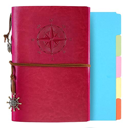 Leather Journal, Refillable Notebook Vintage Spiral Bound Notepad...