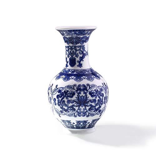 straight fire jingdezhen Chinesische traditionelle Keramik Terrarium Dekoration Blumenvase Flower Stand Blau Weiß Porzellan Steckdose Blumenständer (Color : A)