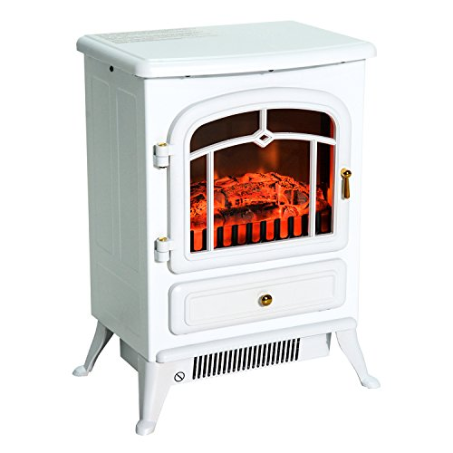 HOMCOM Elektrokamin Kaminofen Flammeneffekt 950/1850W Überhitzungs-Schutz Metall Weiß 41,5 x 28 x 54,8 cm