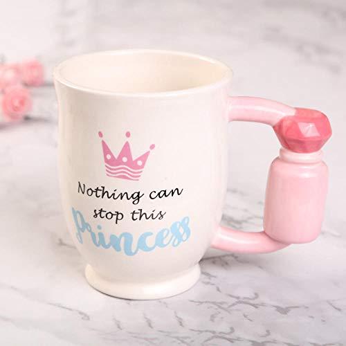 Taza De Cerámica De Tacones Altos Creativos para Mujer De 350 Ml, Taza De Café con Mango De Secador, Taza De Lápiz Labial Divertida, Regalo para Novia-Perfume_Cup