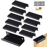 GZcaiyun 10 STK Schrankgriffe Versteckt,Aluminiumlegierung Möbelgriffe Schwarz für Schlafzimmer,Küche,Kleiderschrank,mit 20 Schrauben&Schraubenzieher(120mm)