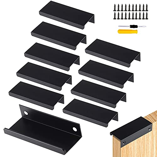 GZcaiyun - 10 tiradores ocultos, aleación de aluminio, para muebles, color negro, para dormitorio, cocina, armario, con 20 tornillos y destornillador (120 mm)