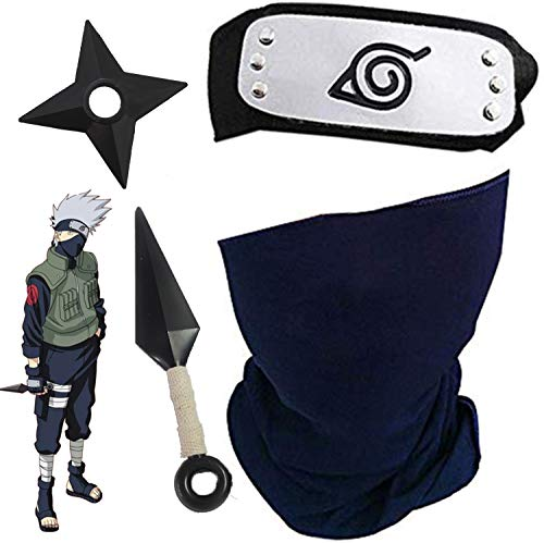 Blesser Naruto Kakashi Maske mit Konoha Naruto Stirnband Metall + Kakashi Kunai Ninja Shuriken aus Kunststoff, Kakashi Cosplay Set (4 Stück Set)