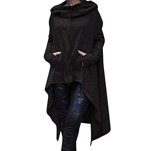 Women Asymmetrical Hem Hoodie Casual Irregular Hood Sweatshirt Ladies Long Pullover Blouse Tops (Black, M)