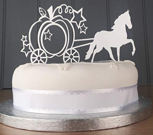 Decoración para tartas con diseño de calabaza, cenicienta, cumpleaños o boda