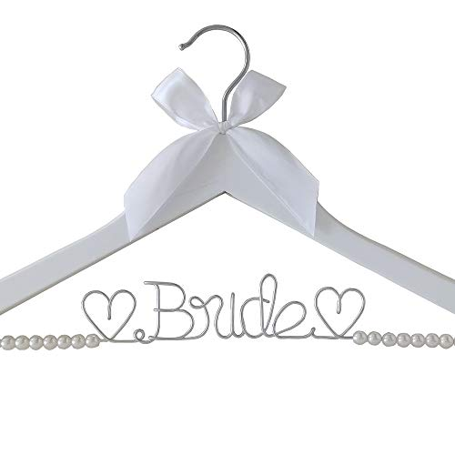 pengkai The Bride's Wedding Gift, Wooden Wedding Dress Gown Hanging Wire Letter Hanger (White and Silver Thread with Pearls)