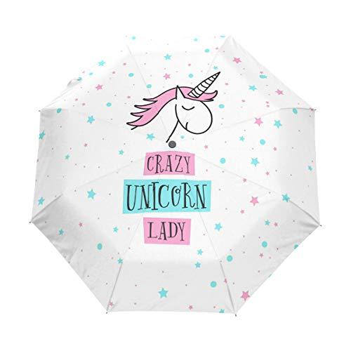 Amazing Deal CHINEIN Travel Umbrella Auto Open Compact Folding Sun & Rain Protection Crazy Unicorn L...