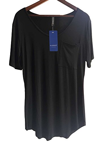 Allegrace Womens Casual Scoop Collar Plus Size T Shirts Summer Tops Tee Black XXL