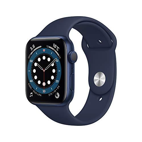 最新 AppleWatch Series 6(GPSモデル)- 44mmブルーアルミニウムケースとディープネイビースポーツバンド