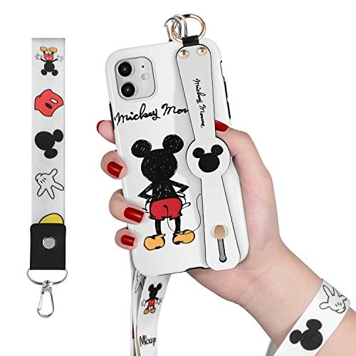 Disney iPhone 11 Case - Features Disney's Mickey Mouse -Durable Exterior, Protection Against Scratches and Impacts - Wrist Strap and Lanyard Included for iPhone 11 6.1 Inch 2019