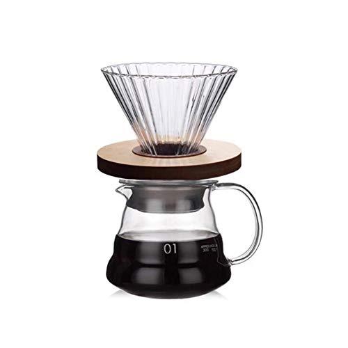 Poetryerコーヒーサーバーガラスコーヒーポット木製ブラケットとポットコーヒーフィルター付き耐熱アンチヒゲオフィス/ホーム用
