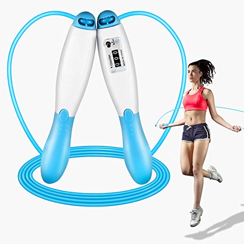 Heavy Jump Rope With Counter Adjustable Length Weighted for Adult Indoor Fitness Exercise Workout with non-slip hand mat Long Jumping Ropes Blue