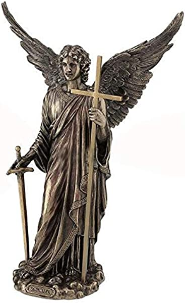 XoticBrands Zadkiel Archangel Of Mercy Religious Cold Cast Bronze Sculpture