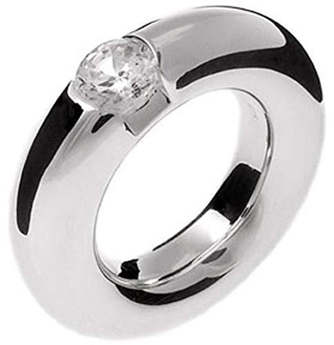 massiver Silber Ring - hochwertige Goldschmiedearbeit aus Deutschland mit Zirkonia Stein im Brillantschliff (Sterling Silber 925) schwerer Silberring 7 mm - Rundbandring - Damenring - Beisteck Ring