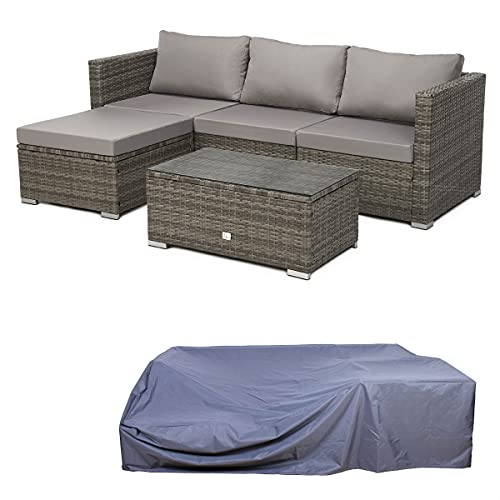 SVITA Queens Polyrattan Lounge Eck-Sofa Gartenmöbel Sitzgruppe Haube Set Grau