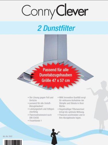 Universal Dunstabzug-Fett-/Aktivkohlefilter 47x57 cm mit Sättigungsanzeige, individuell zuschneidbar, 2er-Set