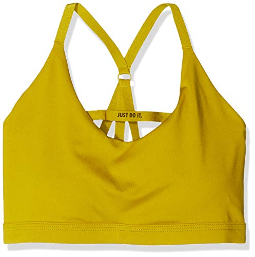 NIKE Indy Just Do It–Sujetador de Deporte para Mujer, Mujer, 928891-392, Dark Citron/(Black), FR : L (Taille Fabricant : L)