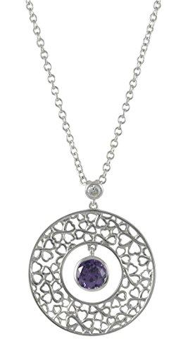 Merii M0610N/90/C6/45 Necklace with Round Moving Pendant Purple Zirconia