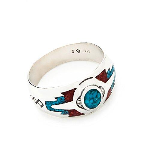 Indianerschmuck Ring Türkis Koralle Westernschmuck Indianerring Sterling Silber Navajo Schmuck CR910 (63 (20.1))