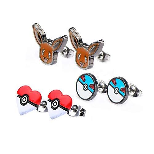 Pokemon Eevee & Pokeballs Stud Earrings, Set of 3