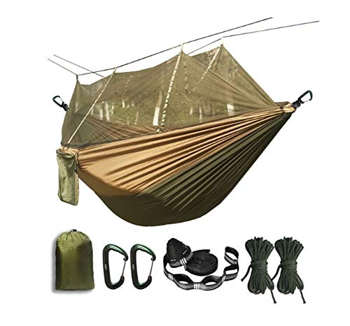 XINGJIJIJIA Highly Portable Mosquito net Hammock Double-person Folded Into The Pouch Mosquito Net Hammock Hanging Bed For Travel Kits Camping choice (Color : Army green and Khaki)