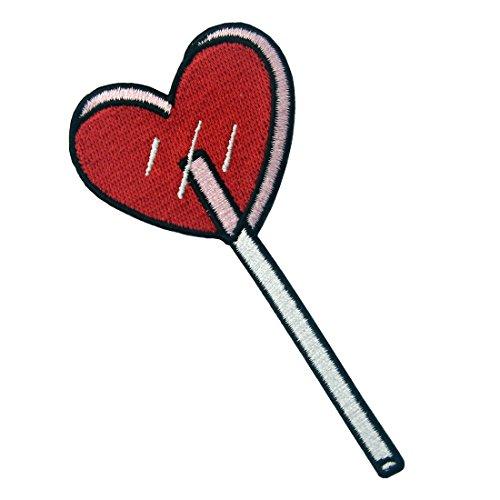 Parche termoadhesivo para la ropa, diseño de Corazón Lolli, rojo