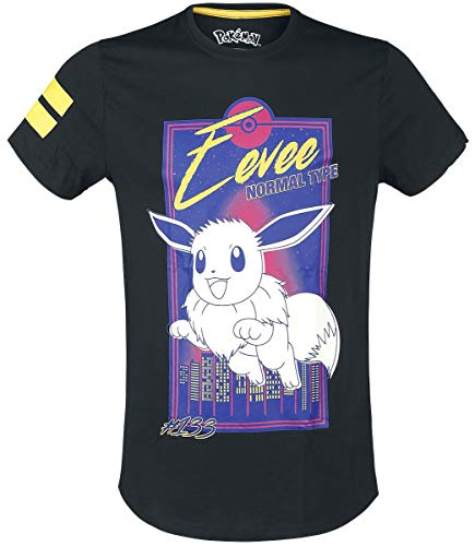 Pokémon Evoli - City Männer T-Shirt schwarz M, 100% Baumwolle, Fan-Merch, Gaming, Nintendo