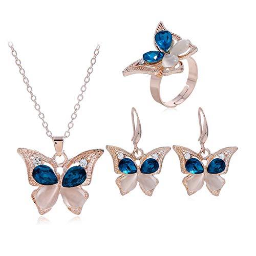 Moda Mariposa Cristal Collar Anillo Pendiente Conjunto Joyería Nupcial Tres Sets