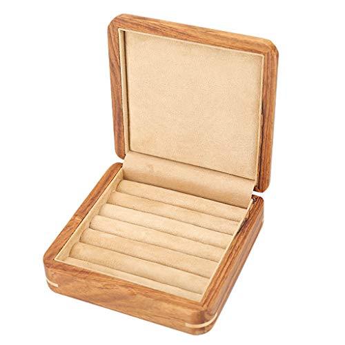WXQIANG Mancuernas de Puros de Madera sólida Caja de Joyas Pendiente Caja del Anillo Anillo de Almacenamiento de Caja de la joyería (Color : A)