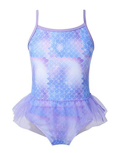 Choomomo Kids Girls Sparkly Mermaid Scales Swimsuits Swimwear Spaghetti Shoulder Straps Tankini Swimming Costumes Lavender 6 7 Years