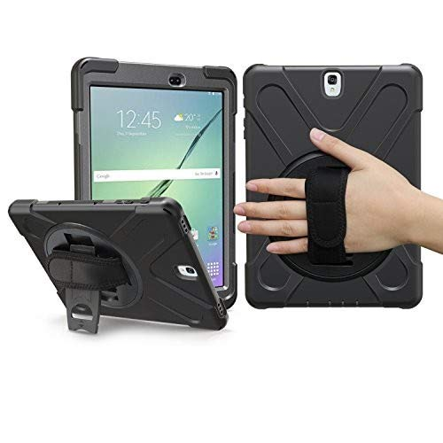 BRAECN Samsung Galaxy Tab A 9.7 Case, Heavy Duty Rugged Silicone Case Cover with Portable Shoulder Strap Built-in Stand/Hand Strap For Samsung Galaxy Tab A 9.7 Inch Tablet SM-T550 / SM-P550(BLACK)