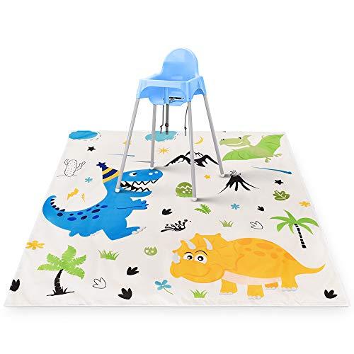WERNNSAI Hochstuhl Bodenmatte - 130 x 130 cm Dinosaurier Spielmatte für Kinder Baby Silikon Waschbar Rutschfest Essen RVerschütten Picknick Splat Mat Tischdecke Bodenschutz