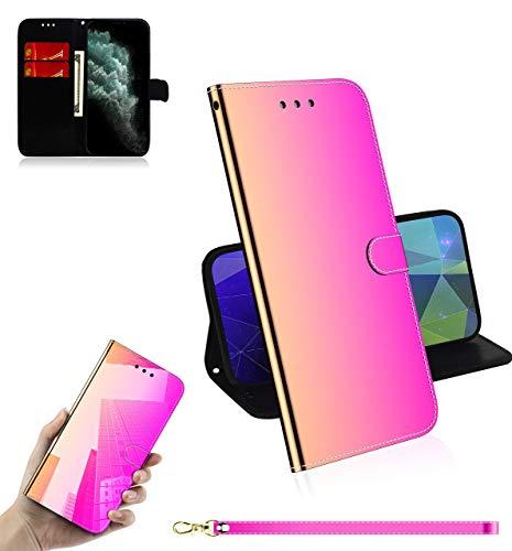 Sunrive Kompatibel mit Lenovo A1000 Hülle,Magnetisch Schaltfläche Ledertasche Spiegel Schutzhülle Etui Leder Hülle Cover Handyhülle Tasche Schalen Lederhülle MEHRWEG(Farbverlauf)