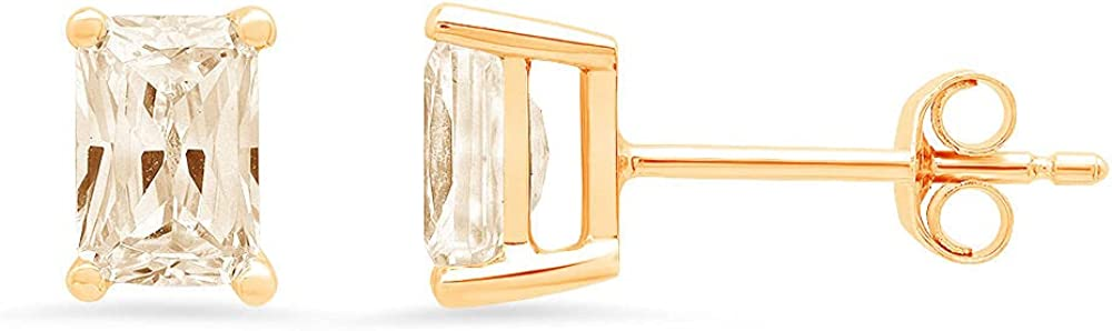 2.0 ct Brilliant Emerald Cut Solitaire Genuine Yellow Moissanite Gemstone Pair of Designer Stud Earrings Solid 18K Yellow Gold Butterfly Push Back