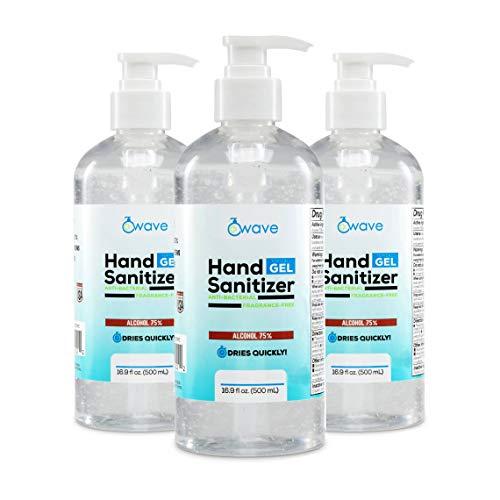Wave Gel Hand Sanitizer   Advanced No-Rinse Gel   75% Alcohol   3 Pack of 16.9 Fl Oz Bottles