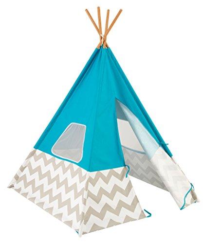 KidKraft- Deluxe Play Teepee Tienda cabaña india para niños, para interior y exterior al aire libre, con 162 cm de altura, Color turquesa (223)