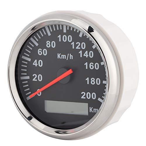 Velocímetro GPS, 200 km/h 3,3 pulgadas Velocímetro GPS 12V/24V Odómetro marino digital impermeable para coche, motocicleta, yate(Marco plateado sobre negro)