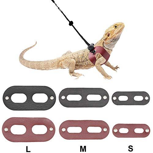 ADOGGYGO Bearded Dragon Harness Leash Soft Leather Adjustable Reptile Lizard Leash Harness for Bearded Dragon Lizard Reptiles (S/M/L 2 Set)