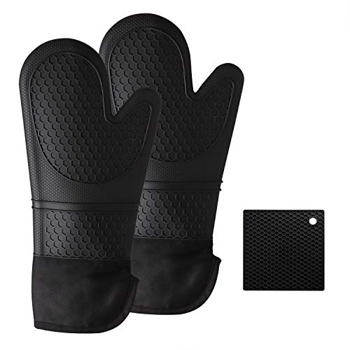 Hotches Extra Long 15.5 Inch Oven Mitts and Pot Holder, Heat Resistant 572°F Flexible Non-Slip Oven Gloves with Cotton Lining Kitchen Cooking Mitts for BBQ Baking - Black