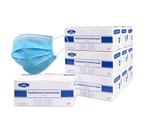 H&D MedeCare LTMS020 Mundschutz Atemschutzmaske Einweg Maske Gesichtsmaske 3-lagig blau 20er Pack